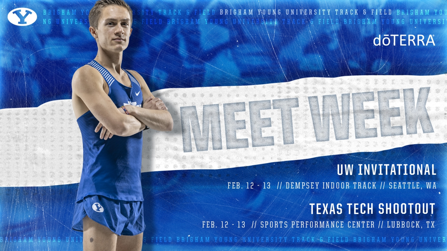 BYU track & field meet week graphic 2-11-21