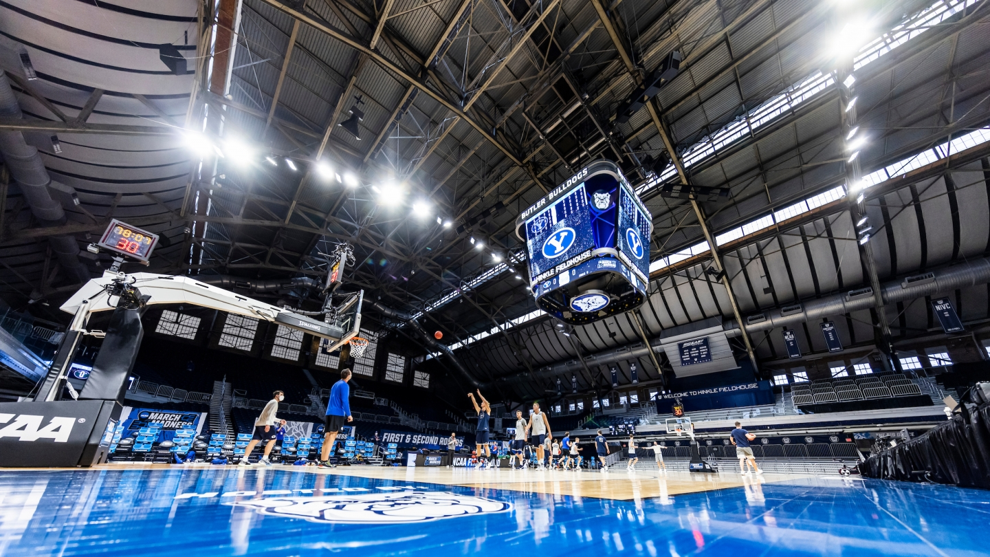 BYU basketball practicing at Hinkle Fieldhouse