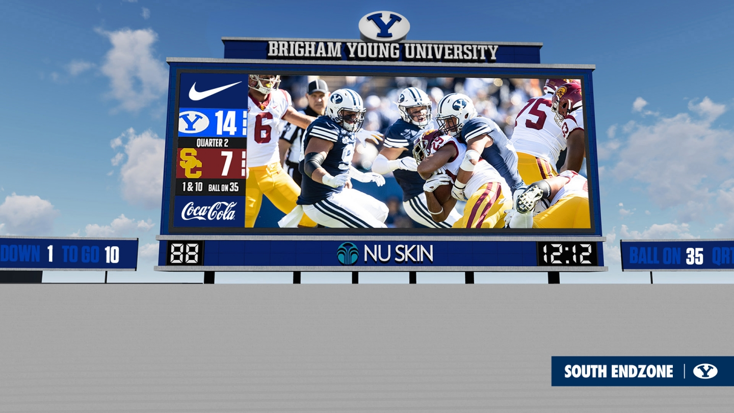 New scoreboard at LaVell Edwards Stadium rendering