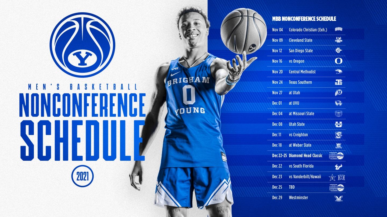 BYU men's basketball schedule release graphic