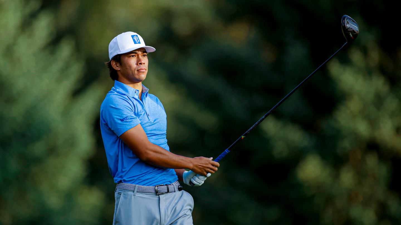 BYU men's golfer Keanu Akina hits a shot at Riverside Country Club.