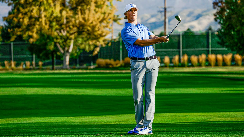 BYU golfer Zac Jones hits a shot at Riverside Country Club.