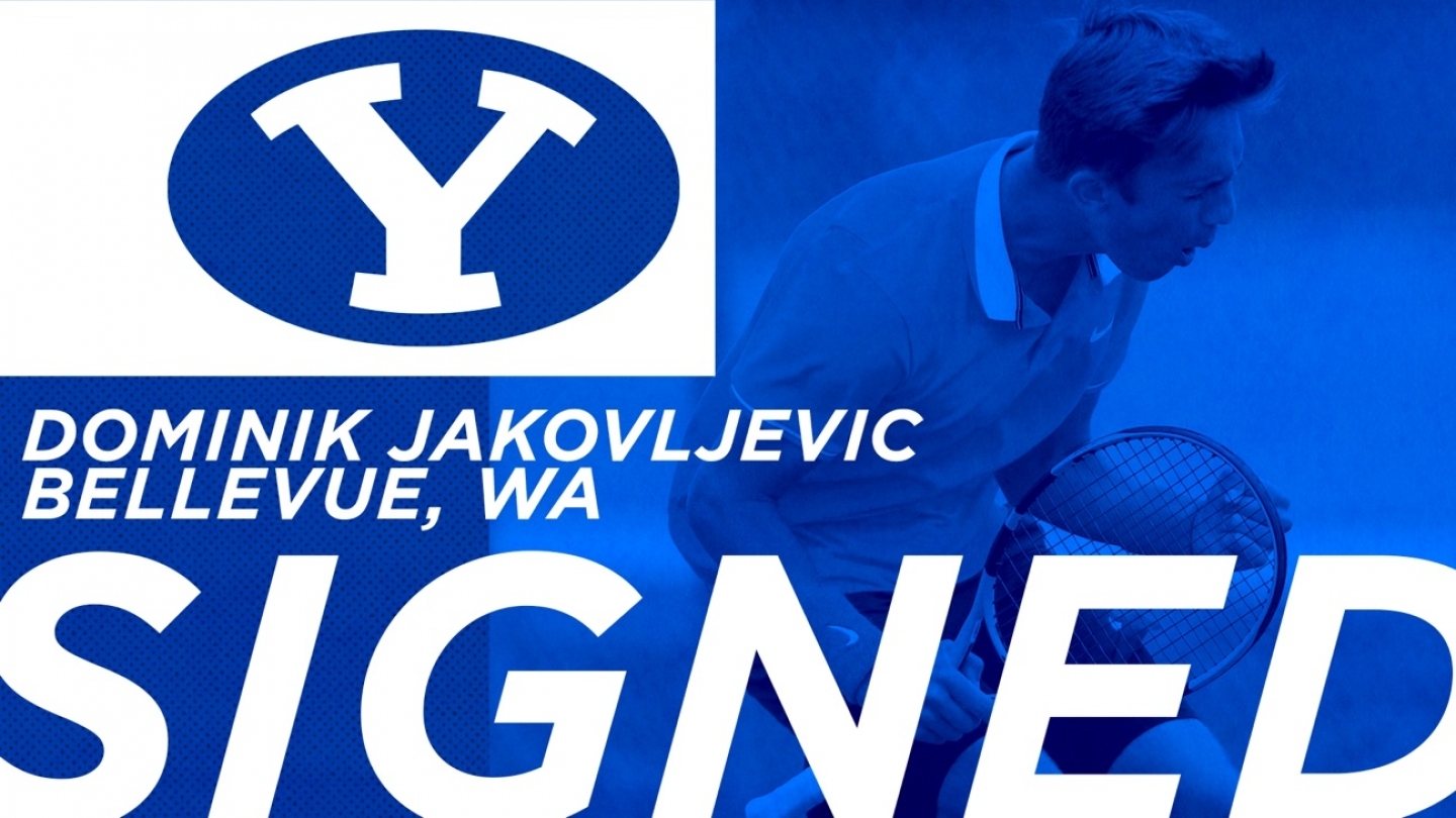 Graphic announcing the signing of Dominik Jakovljevic to the BYU men's tennis team.