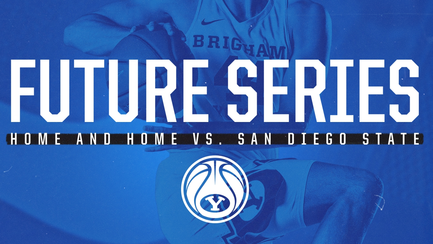 Graphic announcing men's basketball series vs. San Diego State